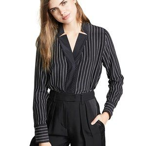 Frame Notch Collar Black and White Silk Blouse M